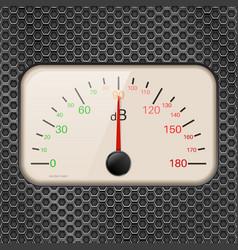 Decibel meter on metal perforated background vector