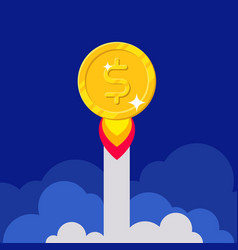 Dollar coin rocket starting vector