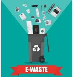 E-waste recycle bin with old electronic equipment vector
