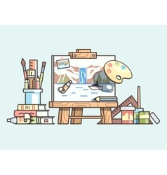 Easel and painting supplies vector image