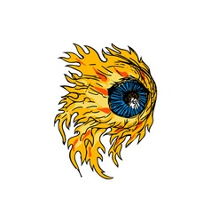 Flaming Eyeball On Fire Drawing vector