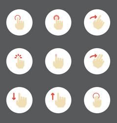 Flat icons touch slide swipe and other vector