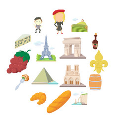 France travel icons set cartoon style vector