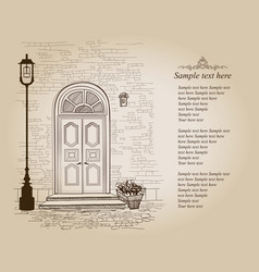 front door vintage background old house entrance vector image
