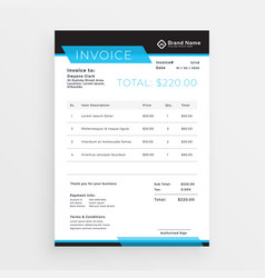 Geometric style invoice template design in blue vector