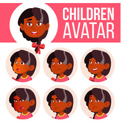 girl avatar set kid kindergarten indian vector image