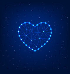 glowing heart on a blue background vector image