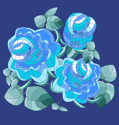 Graphic bouquet of blue roses with leaves on vector