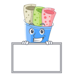 grinning with board rolled ice creams in cartoon vector image