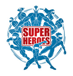Group of super heroes with text super heroes vector