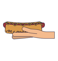 hand holding hot dog vector image