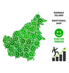 Happiness borneo island map composition of vector