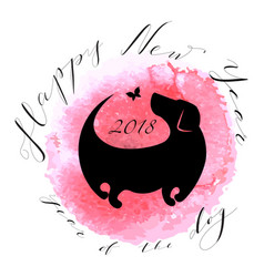 happy new year card with dog silhouette vector image
