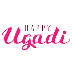 happy ugadi text for greeting card indian holiday vector image