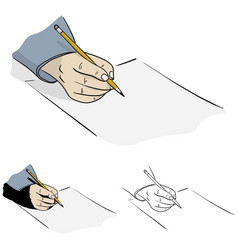 human hand with pencil writing on blank paper vector image