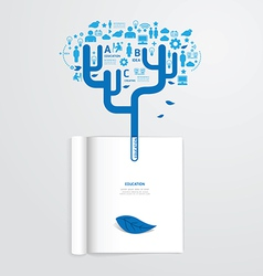 infographic book open with leaf education vector image