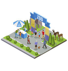 isometric zoo entrance composition vector image