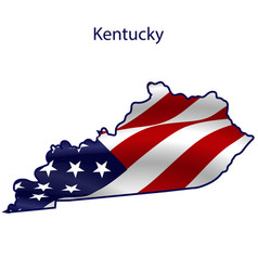 Kentucky full american flag waving in wind vector