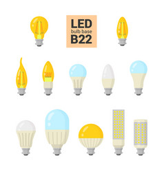 led light b22 bulbs colorful icon set vector image