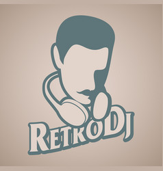 Man retro style with mustache and headphones vector