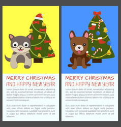 merry christmas set of dogs vector image