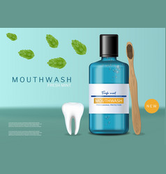 Mouthwash and brush fresh mint realistic vector