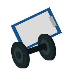 notepad and small barbell isolated vector image