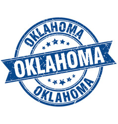 Oklahoma blue round grunge vintage ribbon stamp vector