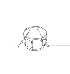 one single line drawing little drum with drum vector image