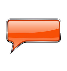 orange speech bubble rectangular 3d icon with vector image