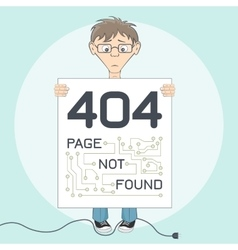 Page with 404 error for website Cartoon style vector