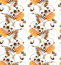 pattern stylized painting orange flowers vector image