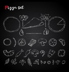 Pizza setcollection on a chalkboard pizza vector