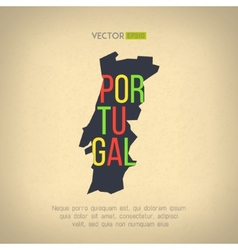 portugal map in vintage design Portuguese vector image