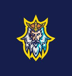 poseidon esport logo template vector image