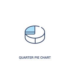 Quarter pie chart concept 2 colored icon simple vector