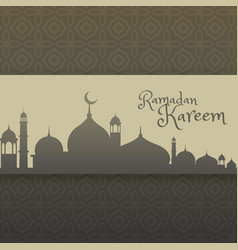 Ramadan kareem greeting with mosque silhouette vector