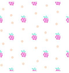 raspberry fruit neon light seamless pattern vector image