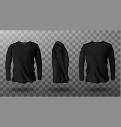 Realistic mockup black long sleeve t-shirt vector