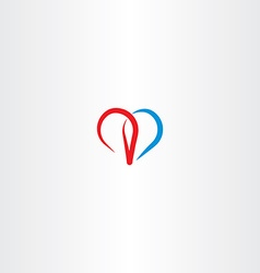red blue heart love sign icon vector image