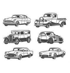 Retro cars and vehicles vintage vector