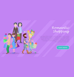 Romantic shopping cartoon flat concept vector