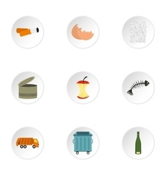 Rubbish icons set flat style vector