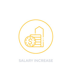 Salary increase raise icon linear vector