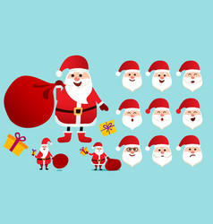 santa claus in red clothes set different vector image