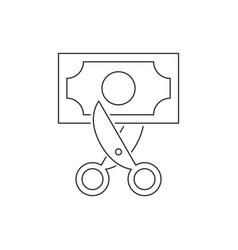 scissors cut banknote line icon on white vector image