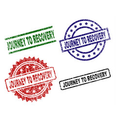 Scratched textured journey to recovery stamp seals vector