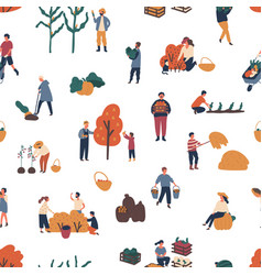 seamless pattern with people harvesting at autumn vector image