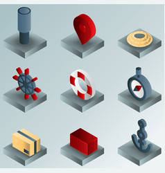 Seaport color gradient isometric icons vector
