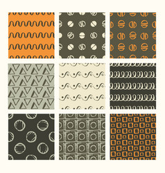 set of 9 styled ultimate hand drawn seamless vector image
